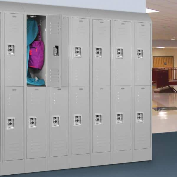 Salsbury Industries 62000 Series 12 In W X 66 In H X 15 In D 2 Tier Metal Locker Assembled In Gray 62155gy A The Home Depot