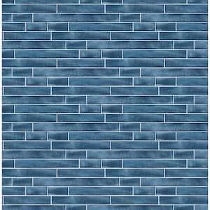 Brushed Metal Tile Denim Blue Vinyl Peelable Roll (Covers 30.75 sq. ft.)
