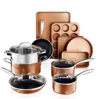 Copper Cast Textured 15-Piece Aluminum Ultra-Nonstick PFOA Free Cookware and Bakeware Set