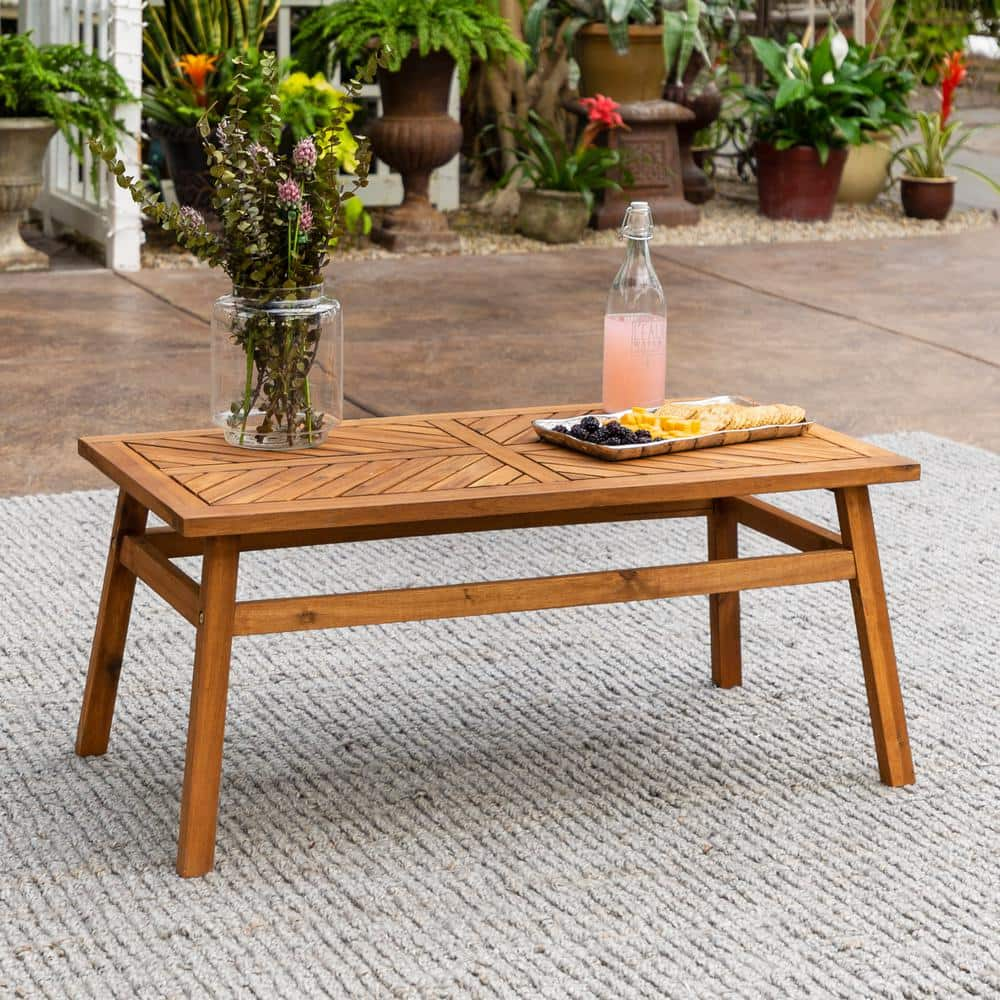 Walker Edison Furniture Company Brown Acacia Wood Outdoor Patio Coffee Table Hdw42vinctbr The Home Depot