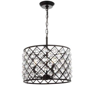 Gabrielle 16 in. 3-Light Oil Rubbed Bronze Crystal/Metal LED Pendant