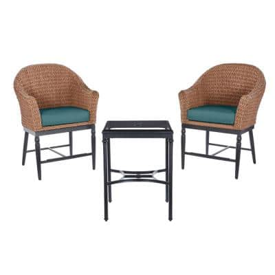 3-Piece Dark Brown Wicker Outdoor Patio Balcony Height Bistro Set with CushionGuard Charleston Blue-Green Cushions