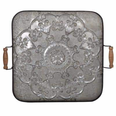 Classic Fashioned Ravello Square Gray Wood and Iron Tray