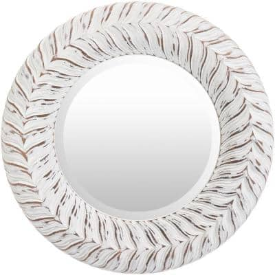 Small Round White Antiqued Classic Mirror (17.5 in. H x 17.5 in. W)