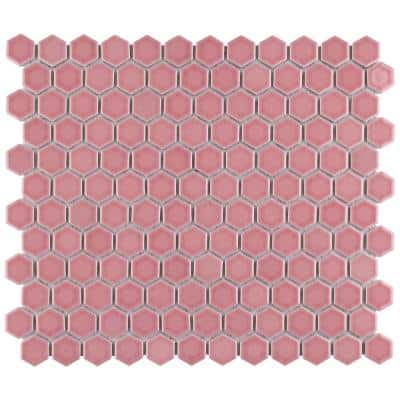 Take Home Tile Sample - Tribeca 1 in. Hex Glossy Blush 6 in. x 6 in. Porcelain Mosaic Floor and Wall