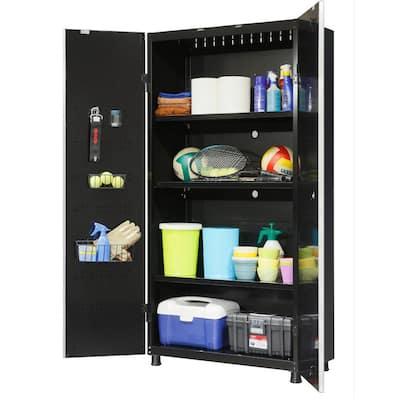 Ready-to-Assemble 24-Gauge Steel Freestanding Garage Cabinet in Black (36 in. W x 72 in. H x 18 in. D)