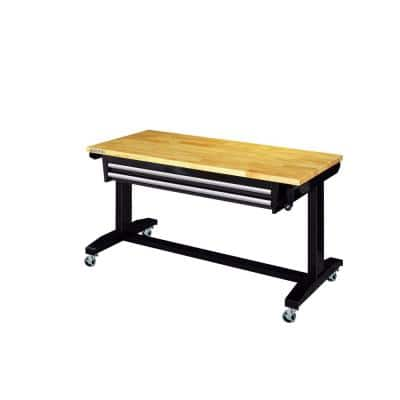 52 in. Adjustable Height Work Table with 2-Drawers in Black