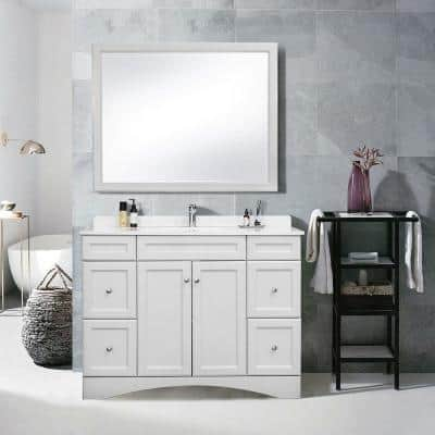 48 in. W x 22 in. D Bathroom Vanity Cabinet Only with Marble Countertop Grey