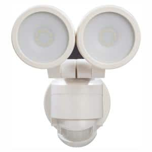 180° White Motion Activated Outdoor Integrated LED Twin Head Flood Light