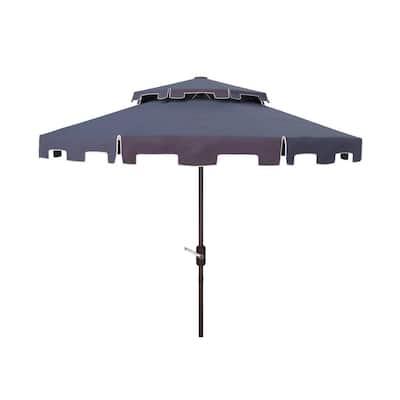 Zimmerman 9 ft. Aluminum Market Tilt Patio Umbrella in Navy/White