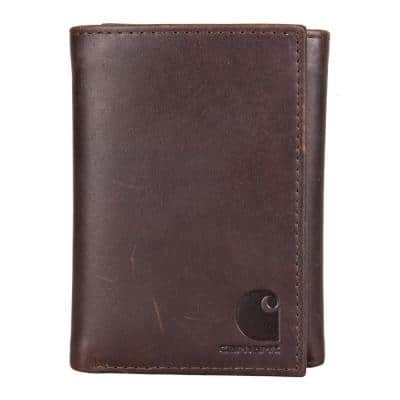 Mens Leather Brown Oil Tan Trifold Wallet