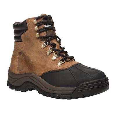 Blizzard Mid Lace Men's Size 12 Medium (D) Brown/Black Leather Waterproof Winter Boot