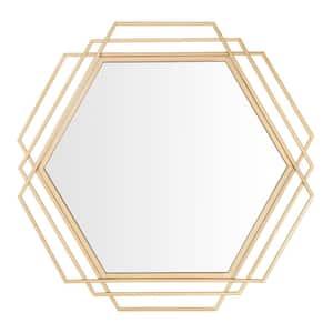 Medium Hexagonal Gold Modern Accent Mirror (26 in. H x 27 in. W)