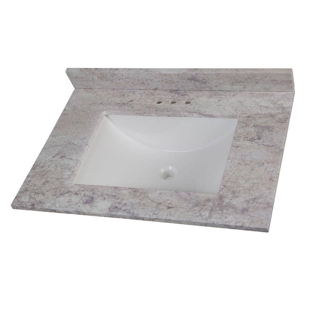 Home Decorators Collection 31 In W Stone Effects Vanity Top In Winter Mist With White Sink Ser31 Wm The Home Depot