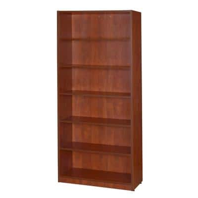 71 in. Cherry Wood 6-shelf Vertical Bookcase with Adjustable Shelves
