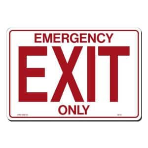 14 in. x 10 in. Emergency Exit Only Sign Printed on More Durable, Thicker, Longer Lasting Styrene Plastic