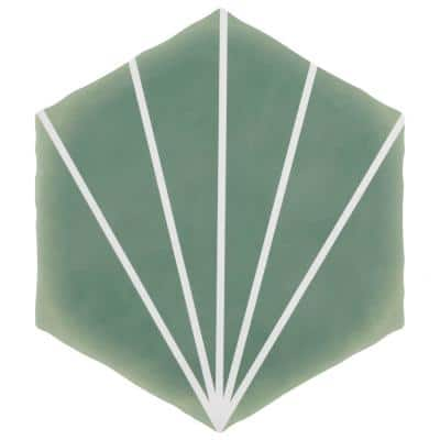 Palm Starburst Hex Green 6 in. x 7 in. Porcelain Floor and Wall Tile (2.97 sq. ft./Case)