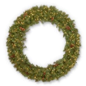 60 in. Garwood Spruce Wreath with Warm White LED Lights