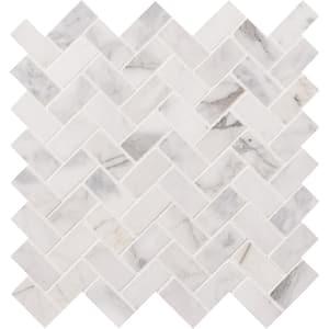 Calacatta Cressa Herringbone 12 in. x 12 in. x 10 mm Honed Marble Mosaic Tile (9.4 sq. ft. / case)