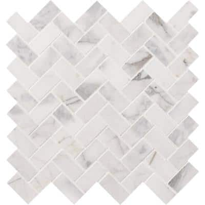 Calacatta Cressa Herringbone 12 in. x 12 in. x 10 mm Honed Marble Mesh-Mounted Mosaic Tile (9.4 sq. ft. / case)