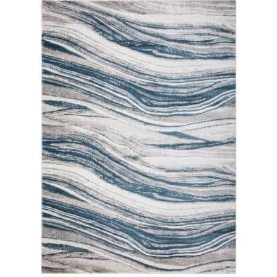 Jefferson Collection Marble Stripes Blue 8 ft. x 10 ft. Area Rug