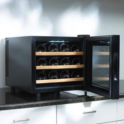 Silent 12-Bottle Touchscreen Wine Cooler with Wood Shelves