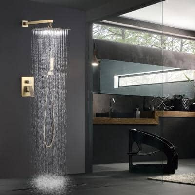 2-Spray Patterns 10 in. Wall Mount Dual Shower Heads Bathroom Shower System with Slide Bar Hand-Shower in Brushed Gold