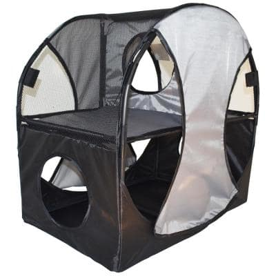 Grey and Black Kitty-Play Obstacle Travel Collapsible Soft Folding Pet Cat House