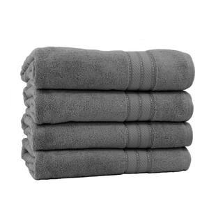 Spunloft 4-Piece Charcoal Solid Cotton Bath Sheet Set