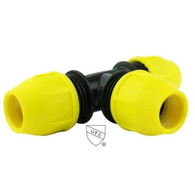 1-1/2 in. IPS DR 11 Underground Yellow Poly Gas Pipe Tee