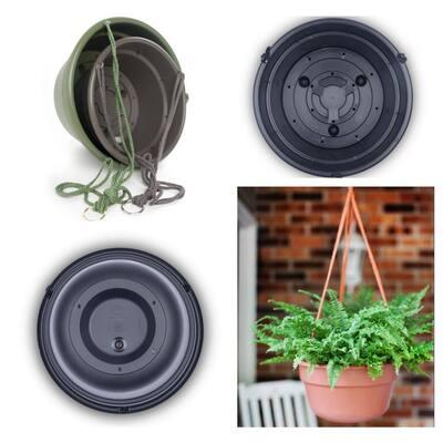 Dura Cotta 12 in. Black Plastic Self Watering Hanging Basket Planter