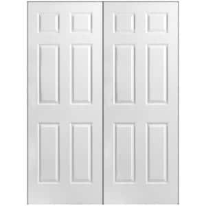 60 in. x 80 in. 6-Panel Primed White Hollow-Core Textured Composite Prehung Interior French Door