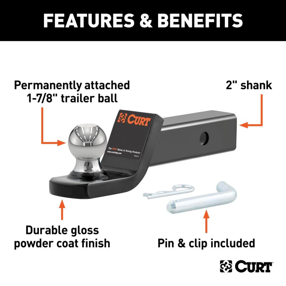 Curt Fusion Ball Mount With 1 7 8 Ball 2 Shank 5 000 Lbs 2 Drop 45131 The Home Depot