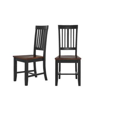 Scottsbury Black Wood Dining Chair with Slat Back and Walnut Finish Seat (Set of 2) (16.7 in. W x 38.7 in. H)