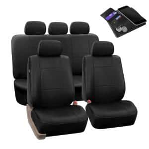 Fh Group Premium Pu Leather 47 In X 23 In X 1 In Full Set Seat Covers Dmpu002black115 The Home Depot