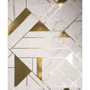 Gulliver Off-white Marble Geometric Vinyl Peelable Wallpaper (Covers 56.4 sq. ft.)