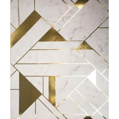 Gulliver Off-white Marble Geometric Off-white Wallpaper Sample