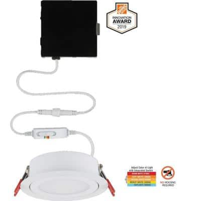 Slim Directional 4 in. Color Selectable New Construction and Remodel Canless Recessed Integrated LED Kit