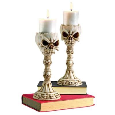 Skullduggery Skull and Bones Polyresin Sculptural Candlestick Candle Holders (Set of 2)