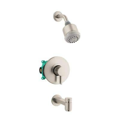 Clubmaster Single-Handle 3-Spray Tub and Shower Faucet with Tub Spout in Brushed Nickel (Valve Included)