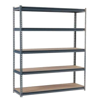 Gray 5-Tier Heavy Duty Steel Garage Storage Shelving (72 in. W x 72 in. H x 24 in. D)