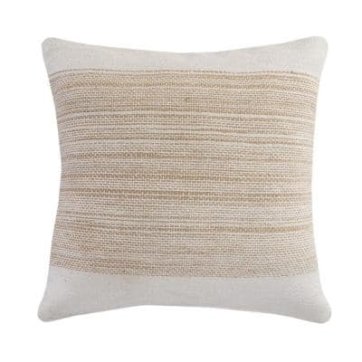 Border Off White / Beige Jute Woven Band Durable Poly-Fill 20 in. x 20 in. Throw Pillow