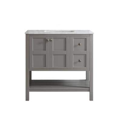 Florence 36 in. W x 22 in. D x 35 in. H Vanity in Grey with Marble Vanity Top in White with Basin