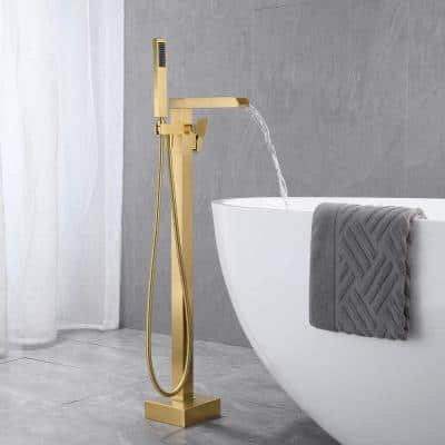 2.4 GPM Floor Mount Free Standing Tub Faucet with Hand Held Shower and Lever Handle in Brushed Gold