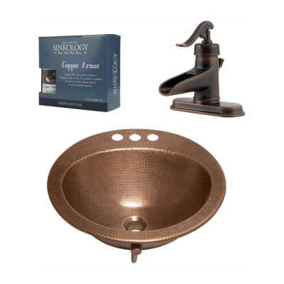 Bell All-In-One 19 in. Drop-In Copper Bathroom Sink with Pfister Ashfield Bronze 4 in. Faucet and Drain