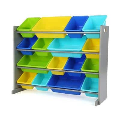 Elements Grey/Multi Super-Sized Toy Organizer with 16-Plastic Bins