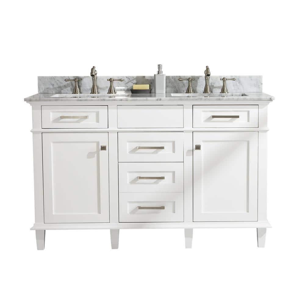 Legion Furniture 54 In W X 22 In D Vanity In White With Marble Vanity Top In White With White Basin With Backsplash Wlf2254 W The Home Depot