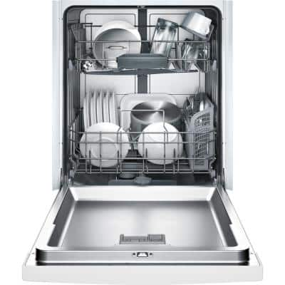 Ascenta 24 in. White Front Control Tall Tub Dishwasher with Hybrid Stainless Steel Tub, 50dBA