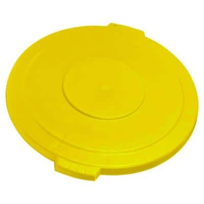 Bronco 20 Gal. Yellow Round Trash Can Recycle Lid with 8 in. Hole (6-Pack)