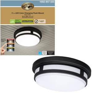 11 in. 1-Light Round Black LED Indoor Outdoor Flush Mount Ceiling Light Porch 830 Lumens 3 Color Temp Changes Wet Rated